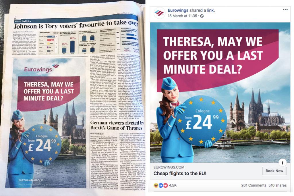 Eurowings paper ad
